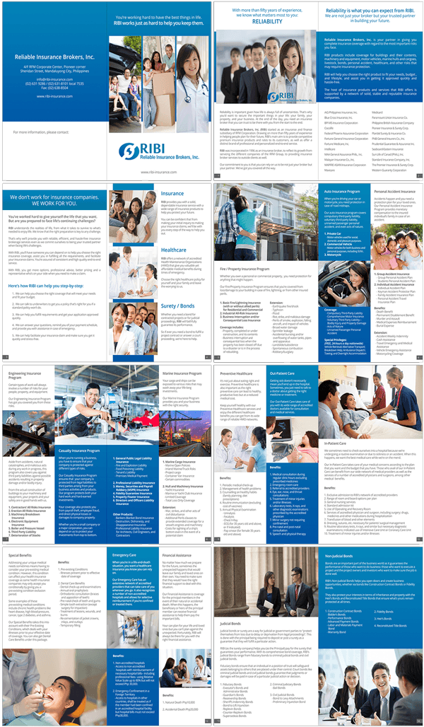 Reliable Insurance Brokers Inc Booklet Layout and Design